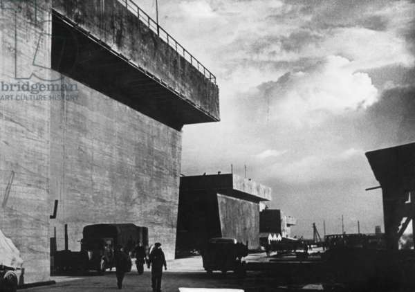German coastal fortification on the Atlantic Wall, 1944 (b/w photo)
