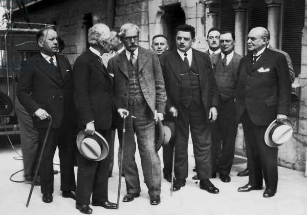 Edouard Herriot, James Ramsay MacDonald and Paul Hymans in Lausanne, 1932 (b/w photo)
