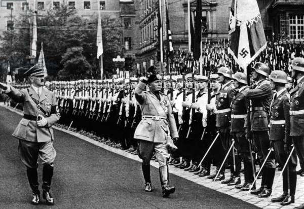 Adolf Hitler and Benito Mussolini in Berlin, 1937 (b/w photo)