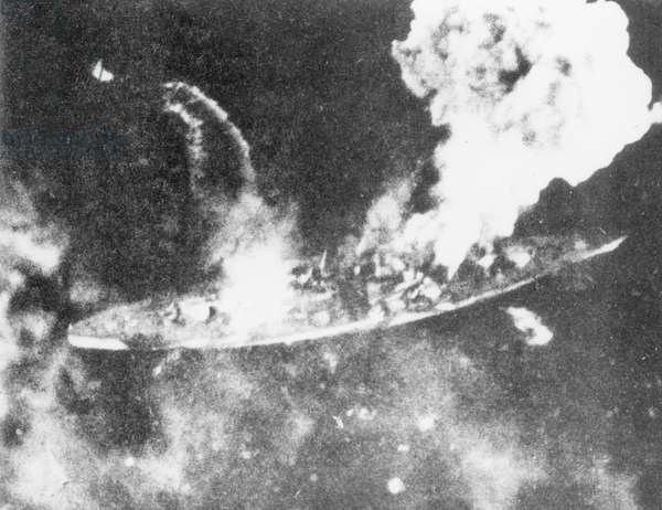 British air attack on the German battleship 'Tirpitz', Norway, 1944 (b/w photo)