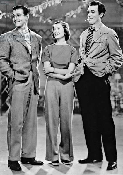Clark Gable, Myrna Loy and Gary Cooper, 1935 (b/w photo)