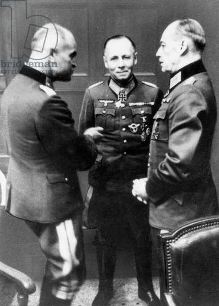 von Blaskowitz, Erwin Rommel and Gerd von Rundstedt in a discussion, 1944 (b/w photo)