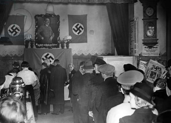 Polling station in Berlin during the Reichstag election, 1938 (b/w photo)