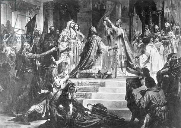 Coronation of Charlemagne by Pope Leo III, 800 (b/w photo)
