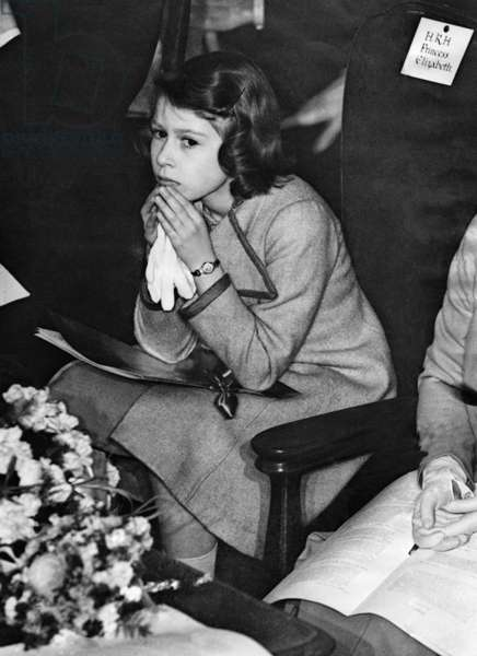 Elizabeth II at the coronation concert for children, 1937 (b/w photo)