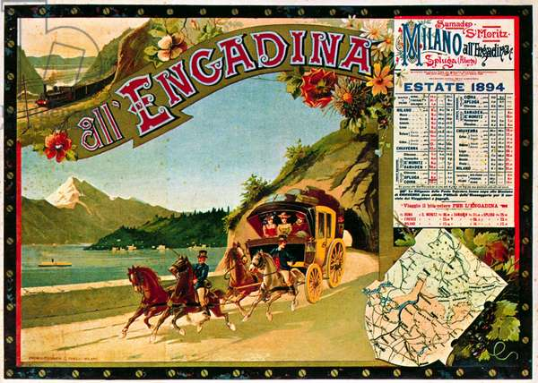Poster advertising an Italian mail coach, 1894 (photo)