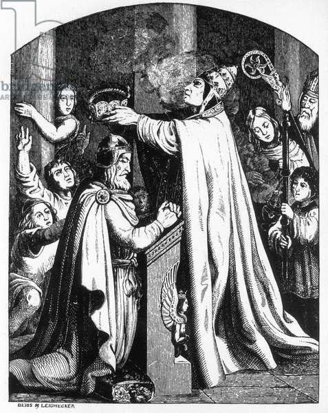 Coronation of Charlemagne by Pope Leo III, 800 (b/w photo)