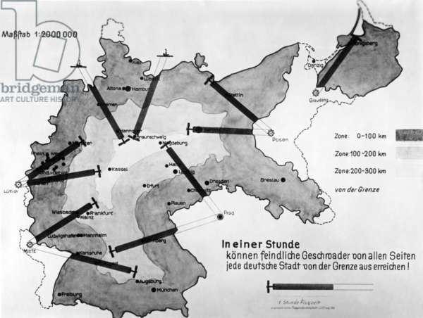 Map over a range of Allied  planes, around the 1930s