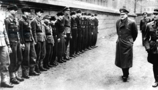 Adolf Hitler with young members of the Hitler Youth (b/w photo)