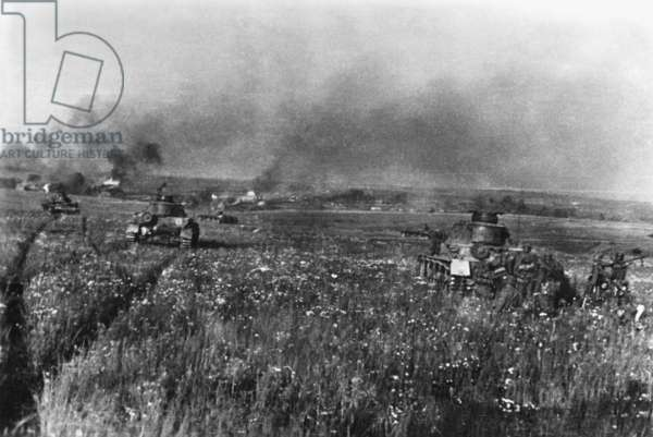 Tank attack at Kaluga on the eastern front, 1942