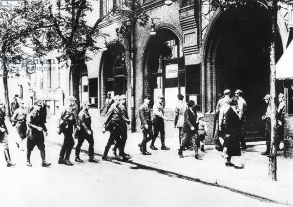 SA squad in Berlin, 1933 (b/w photo)