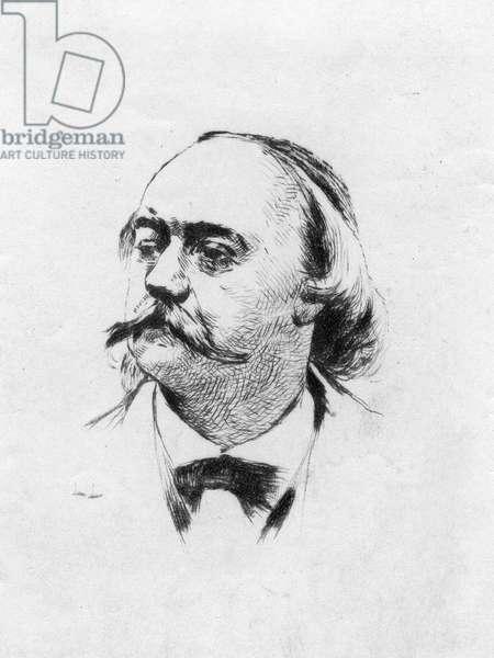 Gustave Flaubert, around 1870 (b/w photo)