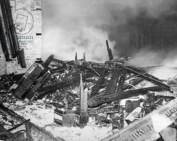 Debris of the Reichstag fire, 1933 (b/w photo)