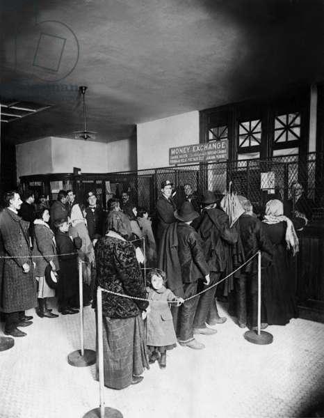 Money exchange office on Ellis Island (b/w photo)