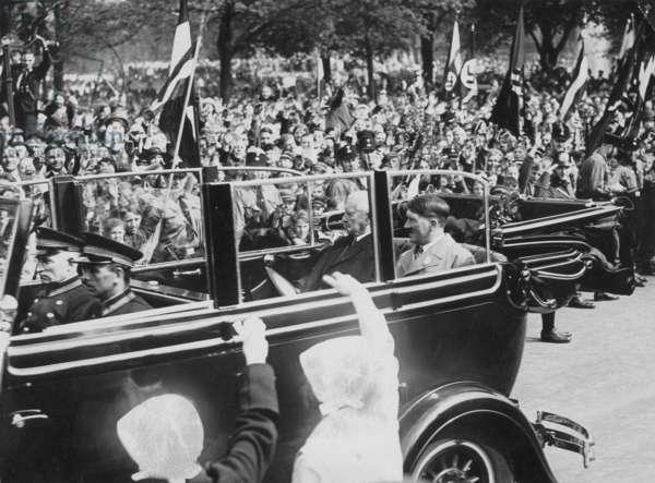 Adolf Hitler and Paul von Hindenburg on 'Tag der Arbeit' (Labor day), 1933 (b/w photo)