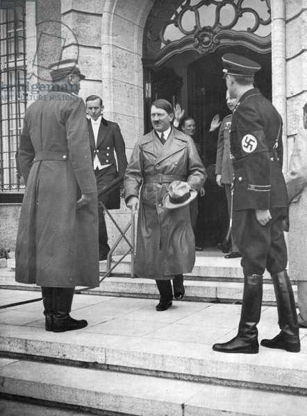 Adolf Hitler with Wilhelm Brueckner and Oskar von Hindenburg at Neudeck estate, 1934 (b/w photo)