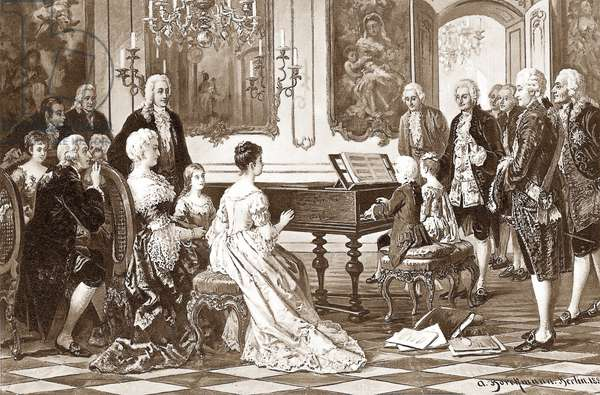 Wolfgang Amadeus Mozart and his sister Maria Anna play music before Maria Theresa at the Viennese court, 1880s (litho)