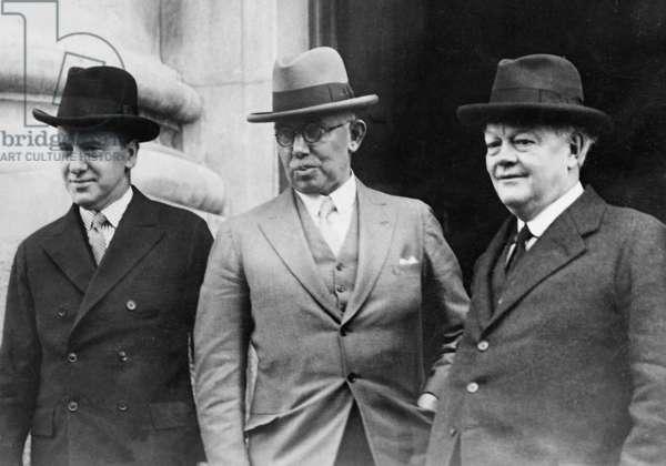 Sir Hardy, Thomas and Lord Hailsham in Dublin, 1932 (b/w photo)