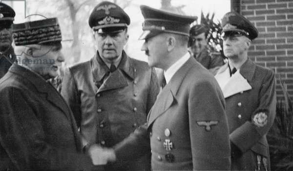 Adolf Hitler greeting Marshal Petain in Montoire, France, 1940 (b/w photo)