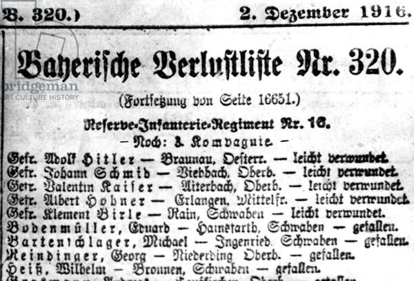 Adolf Hitler on the Bavarian box score (b/w photo)