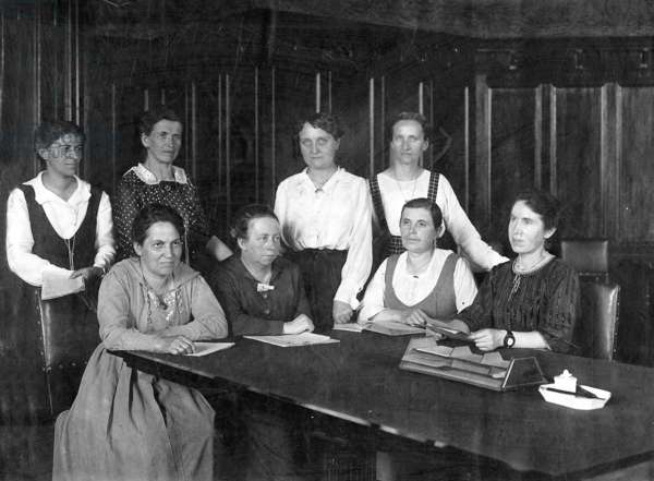 Women in the German Reichstag, 1919/20 (b/w photo)