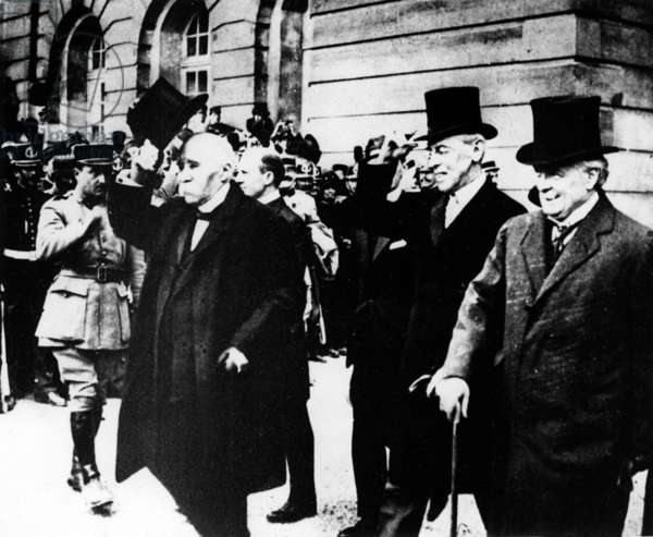 Georges Clemenceau, Woodrow Wilson and Lloyd George, 1919 (b/w photo)
