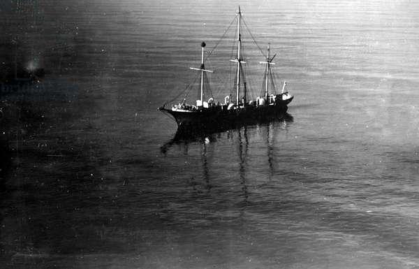 Sailing ship on high seas, 1916 (b/w photo)