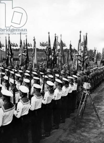 Wehrmacht flags on the Day of the Wehrmacht at the Nuremberg Rally, 1936 (b/w photo)