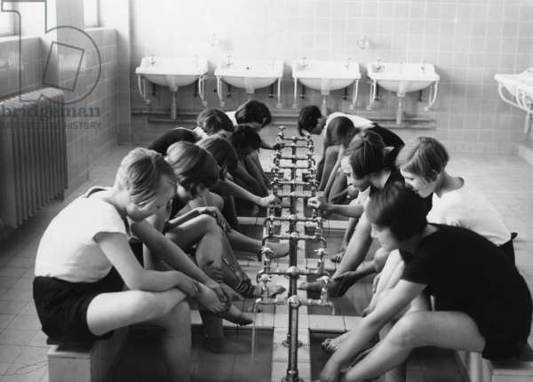 School girls after gym class, 1932