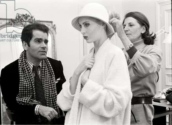 Karl Lagerfeld with his model Eija at Maison Chloe, 1972