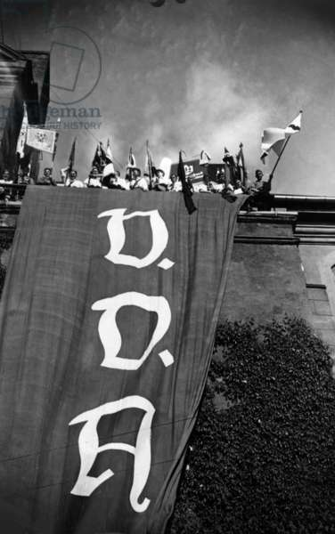View of the flag of the People's League of Germans Abroad in the Pentecost meeting, Königsberg, East Prussia, 1935 (b/w photo)