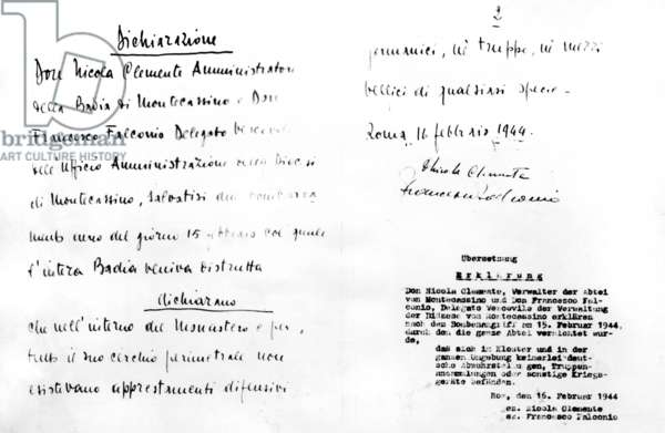 Document on the destruction of the monastery of Monte Cassino, 1944 (b/w photo)