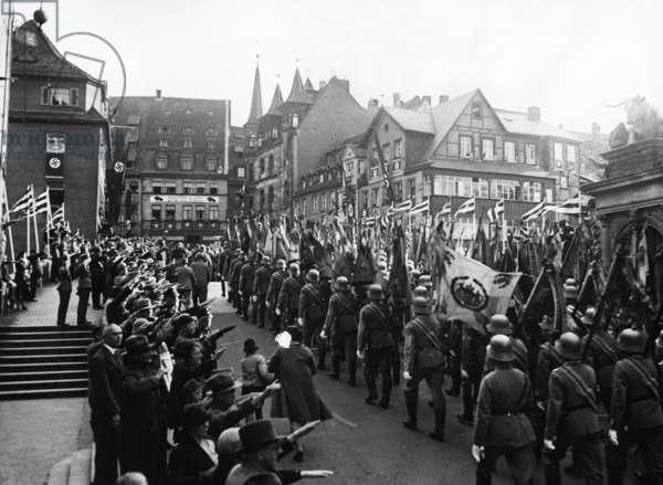 Flag march of the Wehrmacht at the Nuremberg Rally, 1936 (b/w photo)