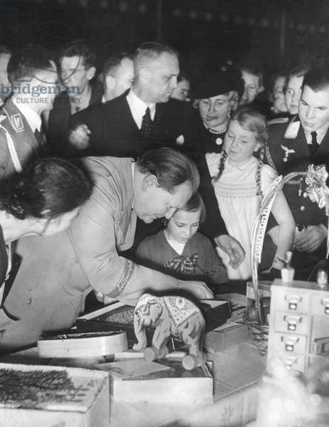 Hermann Göring with children, 1937 (b/w photo)