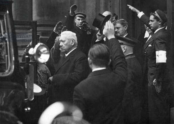 Paul von Hindenburg and Otto Meissner leave the Trinity Church in Berlin, 1933 (b/w photo)