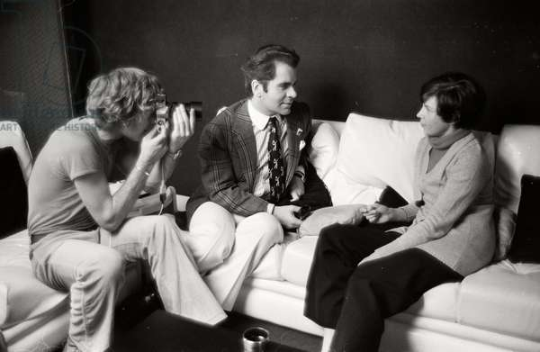 Karl Lagerfeld during an interview at Maison Chloe, 1972