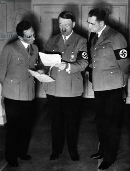 Joseph Goebbels, Adolf Hitler and Rudolf Heß, 1938 (b/w photo)
