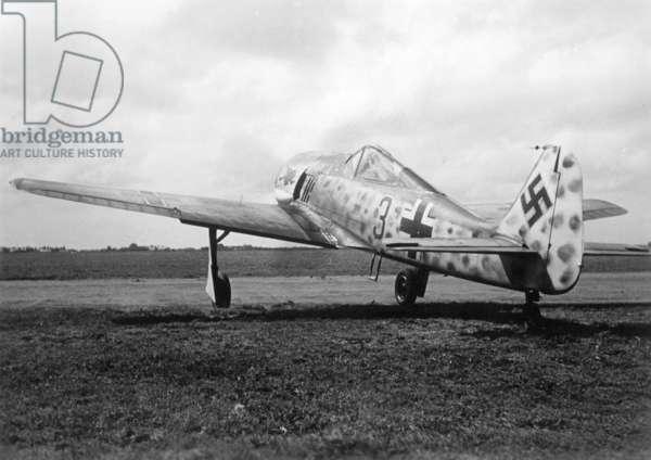 German fighter Focke Wulf Fw 190, 1942 (b/w photo)