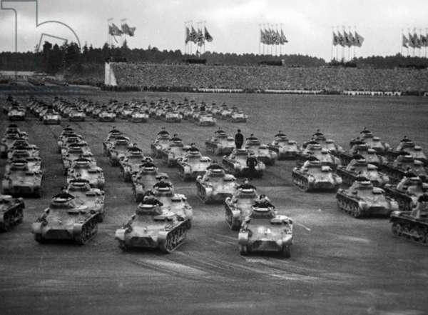 Tank parade at the Nuremberg Rally, 1936 (b/w photo)