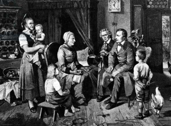 Jacob and Wilhelm Grimm and Dorothea Viehmann