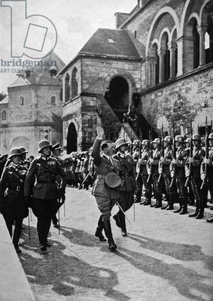 Erwin Rommel and Adolf Hitler in Goslar, 1934 (b/w photo)