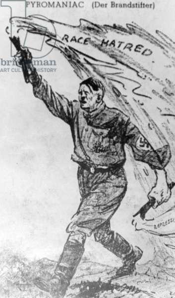 Caricature of Adolf Hitler, 1932 (b/w photo)