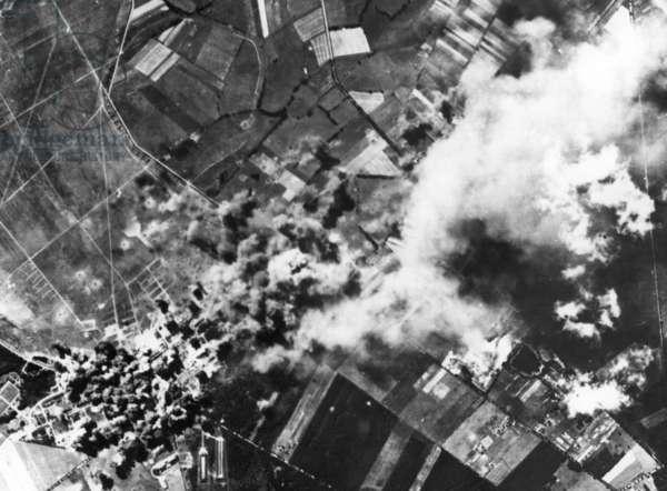 Airstrike on the Focke-Wulf factory in Langenhagen, 1944 (b/w photo)