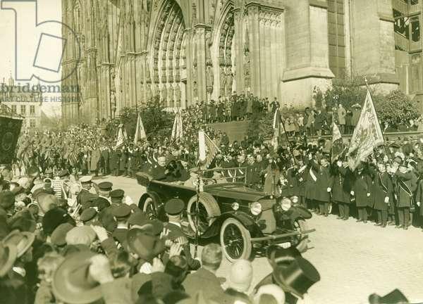 Konrad Adenauer riding in a parade, Germany, before 1945 (b/w photo)