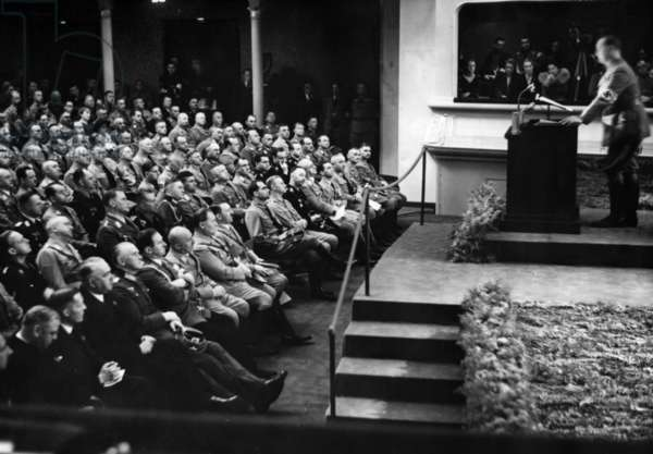 Alfred Rosenberg at the cultural conference of the Nazi Party Rally in the Nuremberg Opera House, 1935 (b/w photo)