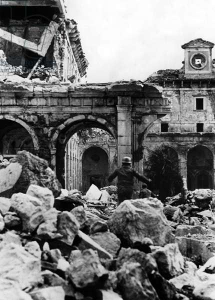 Battle of Monte Cassino, Italy, 1944 (b/w photo)