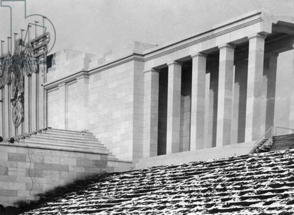 Zeppelin grandstand on the Nazi Party Rally Grounds, 1936 (b/w photo)