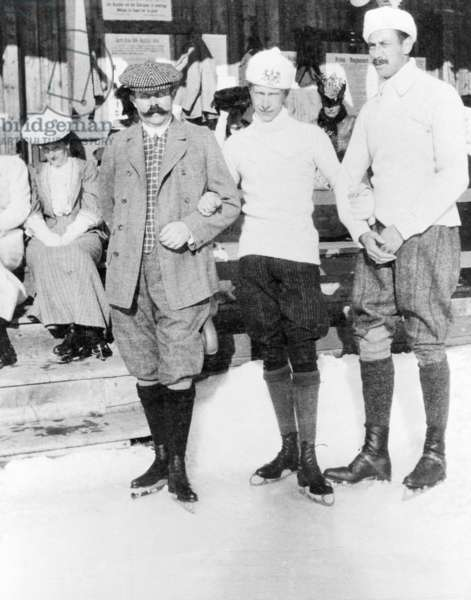 The German crown prince couple doing winter sports in St. Moritz, 1908