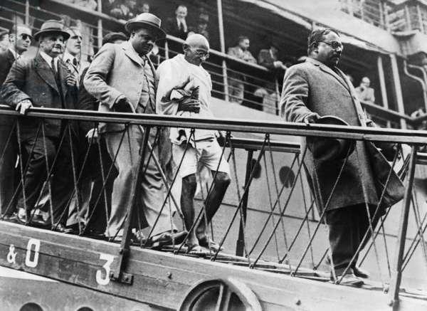 Mahatma Gandhi Leaves his Ship in Marseille, 1931 (b/w photo)