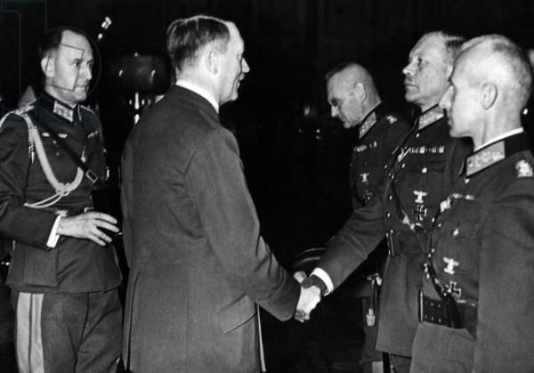 Adolf Hitler awards the generals in charge of the Poland campaign, 1939 (b/w photo)